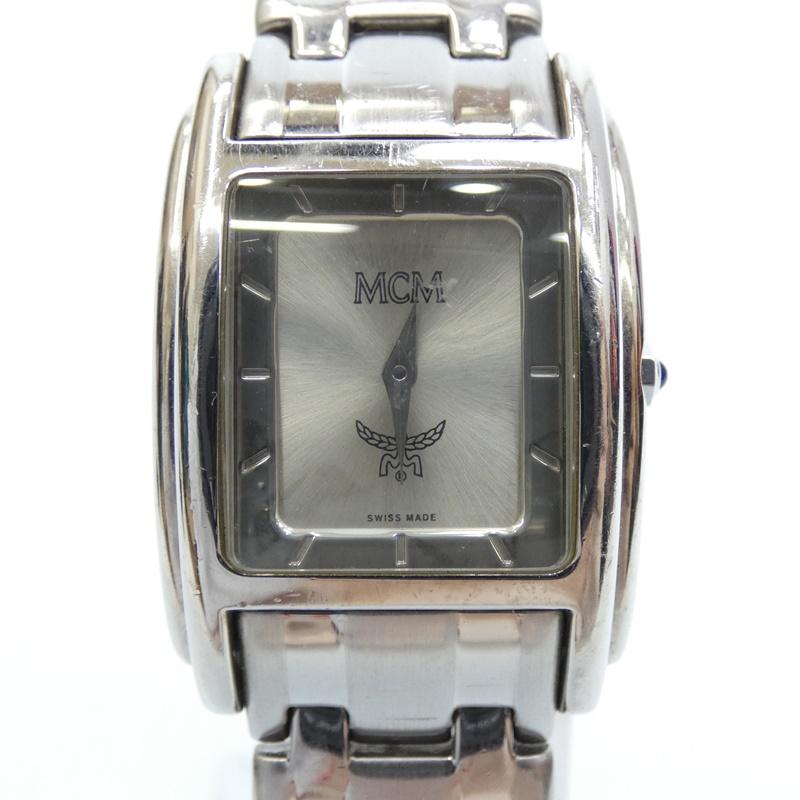 【中古】MCM/エムシーエム 腕時計 クォーツ ステンレススティールベルト サイズ:- カラー:シルバー(文字盤)×シルバー(ベルト)【f131】