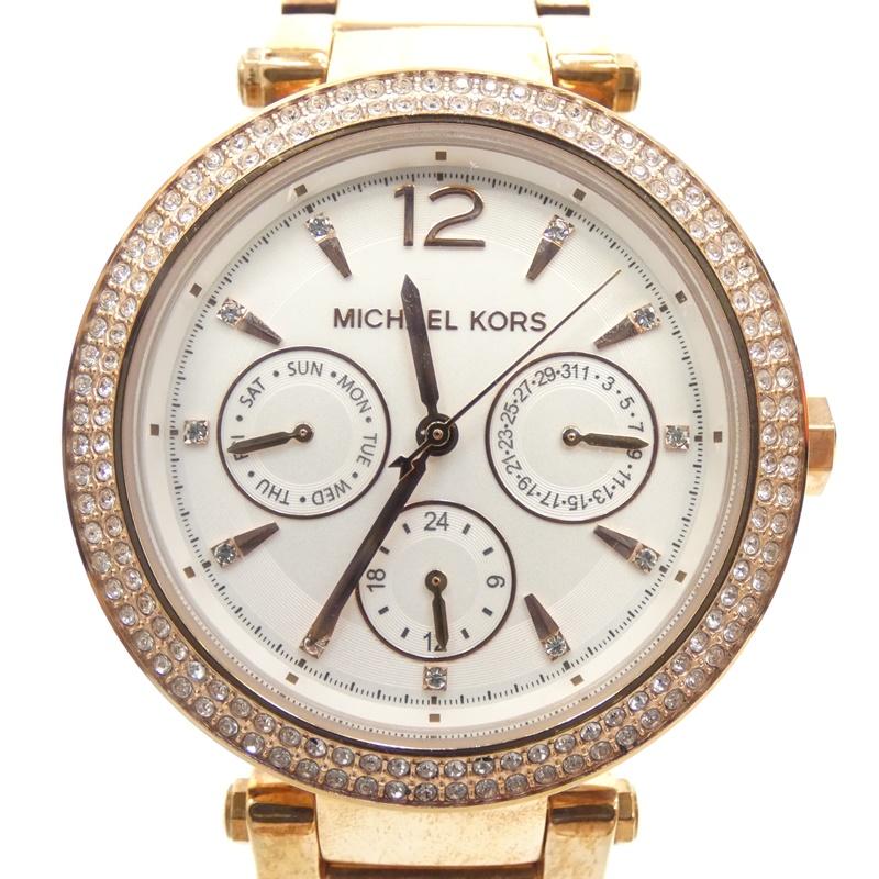 【中古】Michael Kors/マイケル・コース 腕時計 クォーツ サイズ:- カラー:ホワイト(文字盤)×ゴールド(ベルト)【f131】