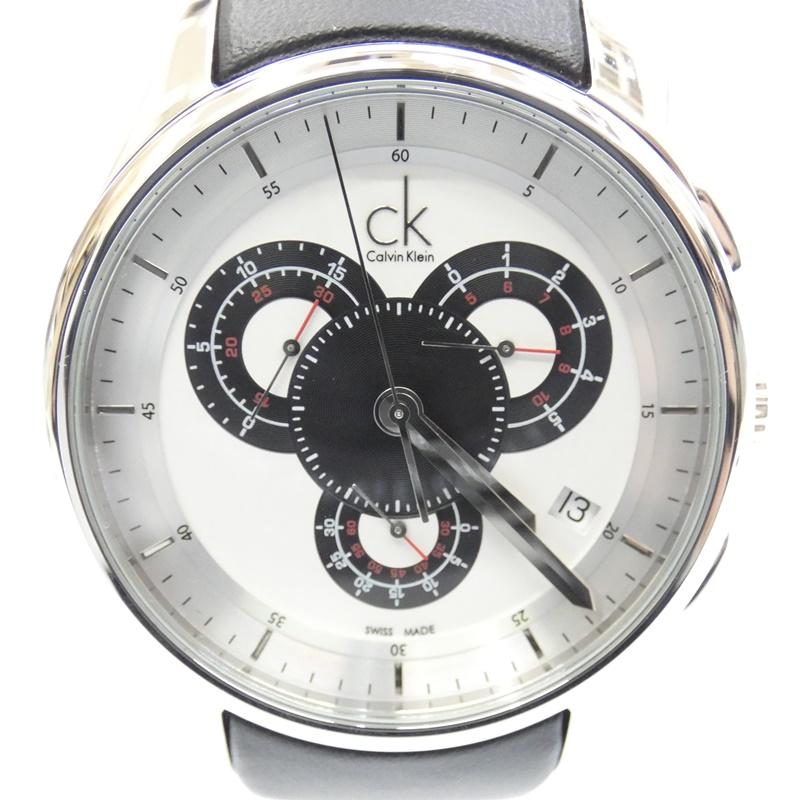 【中古】Calvin Klein/カルバンクライン 腕時計 クォーツ レザーベルト サイズ:- カラー:ホワイト系(文字盤)×ブラック(ベルト)【f131】