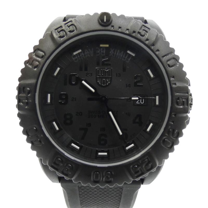 【中古】LUMINOX/ルミノックス 腕時計ネイビーシールズ クォーツ ラバーバンド サイズ:- カラー:ブラック(文字盤)×ブラック(ベルト)【f131】