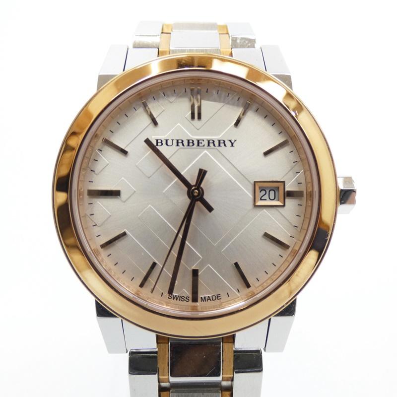 【中古】BURBERRY/バーバリー 腕時計 BU9105 クォーツ ステンレススティールベルト サイズ:- カラー:ホワイト系(文字盤)シルバー×ゴールド(ベルト)【f131】