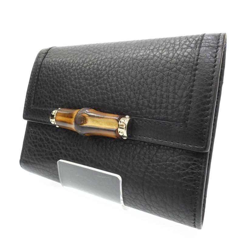 【中古】GUCCI/グッチ バンブー 三つ折り財布 サイズ:- カラー:ブラック【f125】