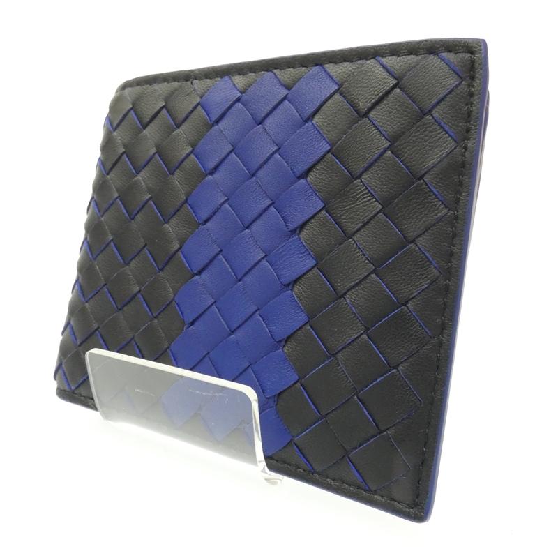 【中古】BOTTEGA VENETA/ボッテガ・ヴェネタ 二つ折り札入れ 財布 サイズ:- カラー:ブルー×ブラック【f125】