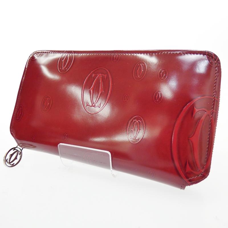 【中古】Cartier/カルティエ ラウンドファスナー長財布 サイズ:- カラー:ボルドー【f125】