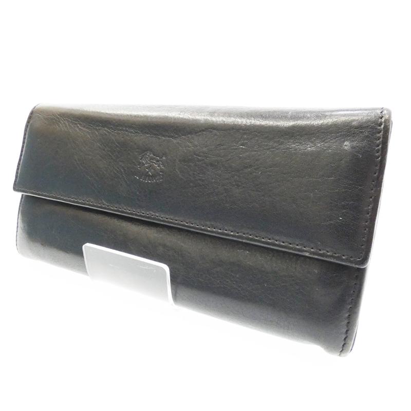 【中古】IL BISONTE/イルビゾンテ 二つ折り長財布 サイズ:- カラー:ネイビー【f124】