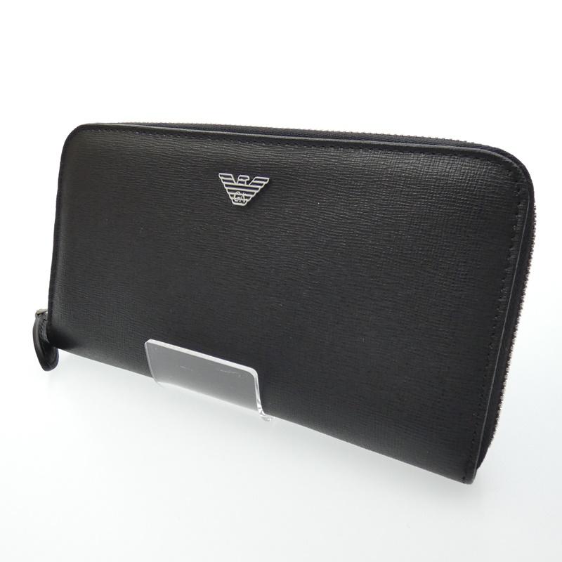 【中古】EMPORIO ARMANI/エンポリオ・アルマーニ ラウンドファスナー長財布 サイズ:- カラー:ブラック【f124】