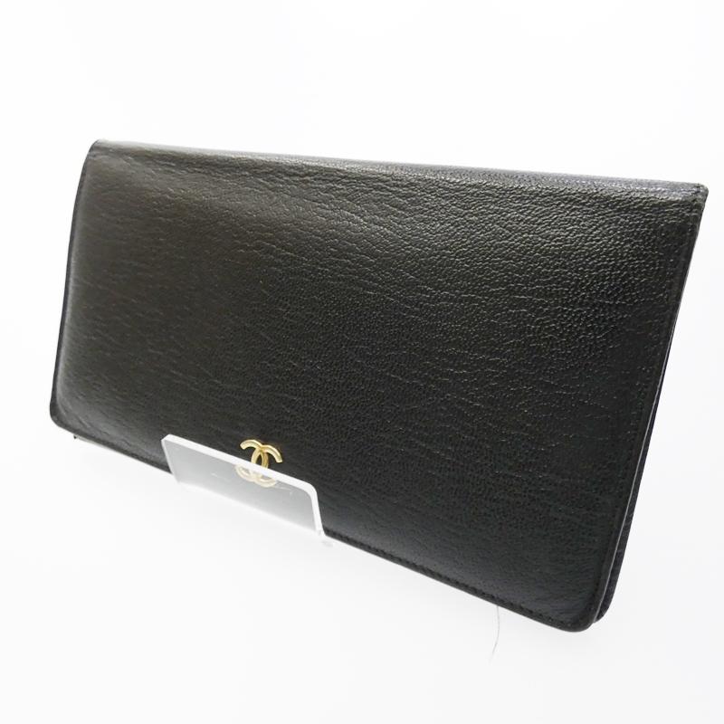 【中古】CHANEL/シャネル 二つ折り長財布 サイズ:- カラー:ブラック【f125】