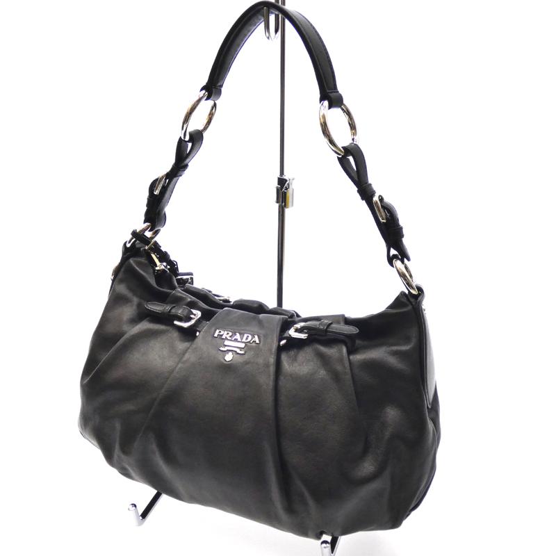 【中古】PRADA/プラダ セミショルダーバッグ サイズ:- カラー:ブラック【f122】