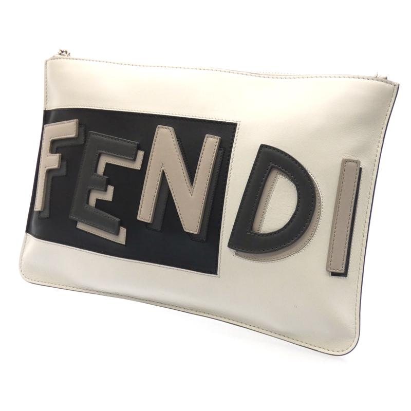 【中古】FENDI/フェンディ クラッチバッグ サイズ:- カラー:ホワイト系【f122】