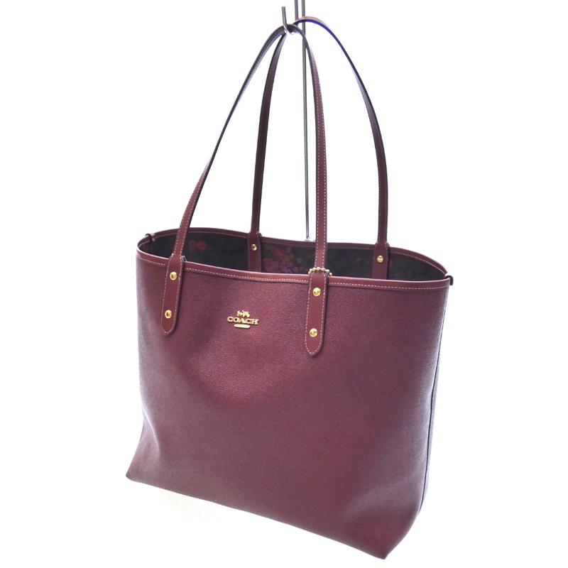 【中古】COACH/コーチ リバーシブルトートバッグ サイズ:- カラー:ブラウン系×レッド系【f122】