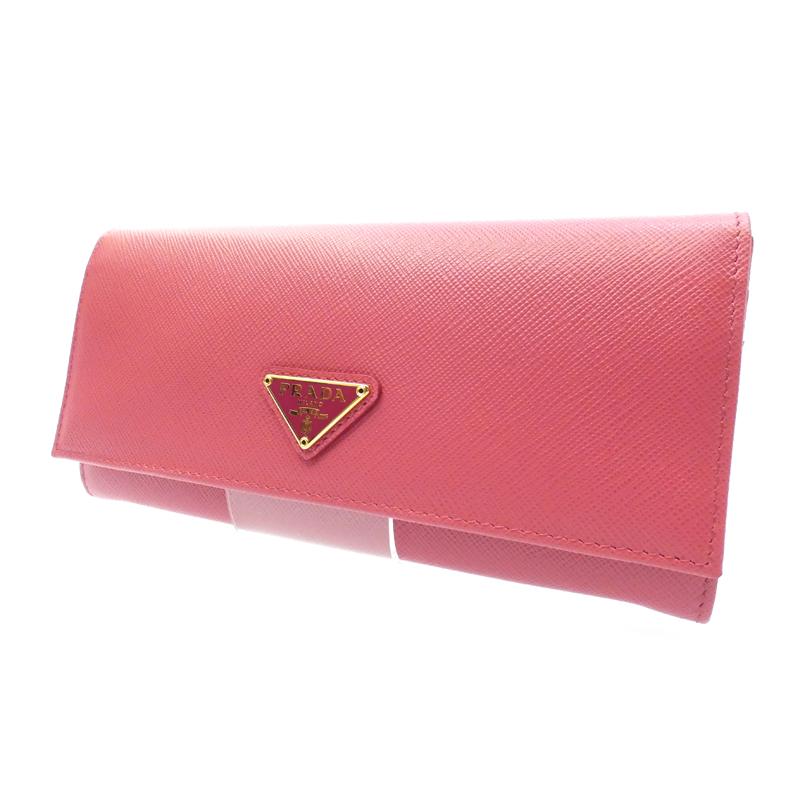 【中古】PRADA/プラダ 二つ折り長財布 サイズ:- カラー:ピンク【f125】