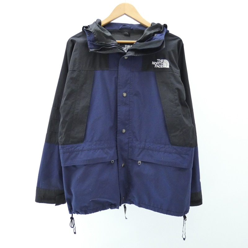 【中古】THE NORTH FACE/ザノースフェイス waterproof breathable Jacket90's マウンテンパーカー サイズ:L カラー:ネイビー×ブラック / アウトドア【f092】