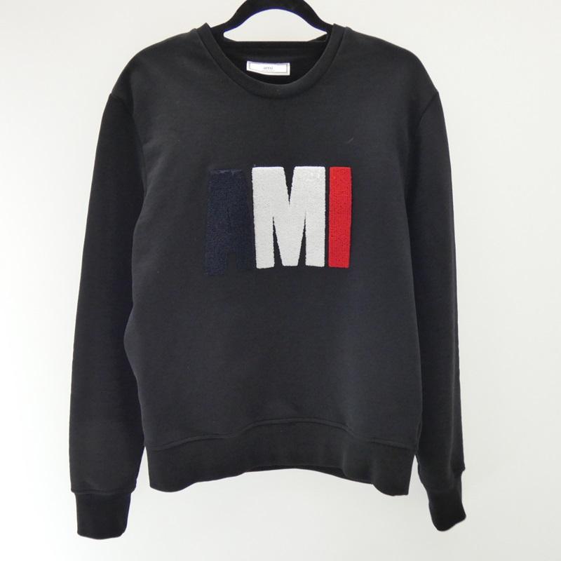 【中古】AMI/アミ スウェット/ビッグAMIスウェットシャツ サイズ:L カラー:ブラック【f108】