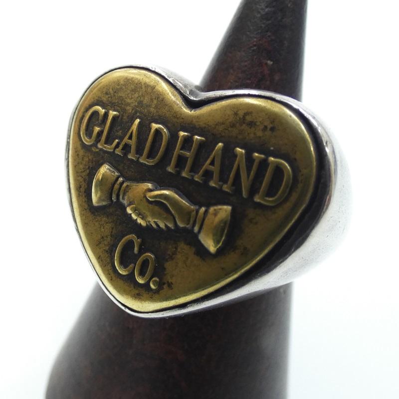 9 26 日 15:00迄 10%OFF 期間限定SALE 中古 GLAD ストアー HAND グラッドハンド f134 RING-HEART BUTTON カラー:シルバー サイズ:17 無料サンプルOK シルバーリング