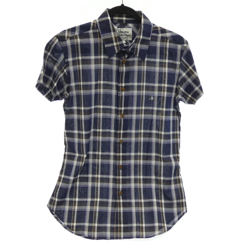 【期間限定】ポイント20倍【中古】Vivienne Westwood MAN/ヴィヴィアン・ウエストウッドマン 半袖チェックシャツ サイズ:46 カラー:マルチカラー【f108】