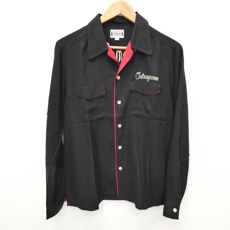 【中古】WACKO MARIA/ワコマリア Rock AND Snake長袖オープンカラーシャツ サイズ:M カラー:ブラック / ルード【f104】