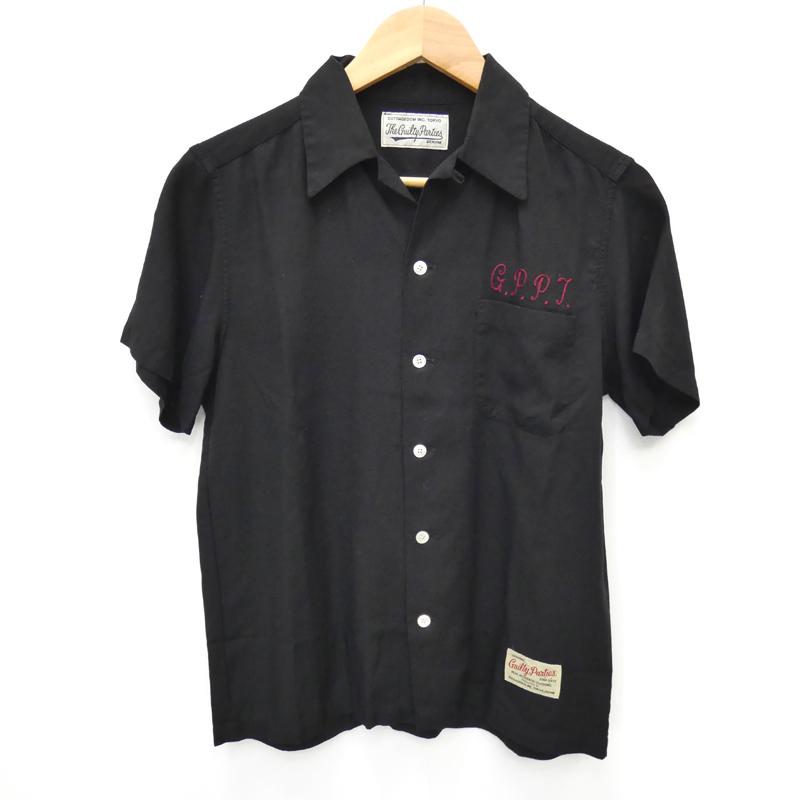 【中古】WACKO MARIA/ワコマリア 半袖オープンカラー刺繍シャツ サイズ:S カラー:ブラック / ルード【f104】