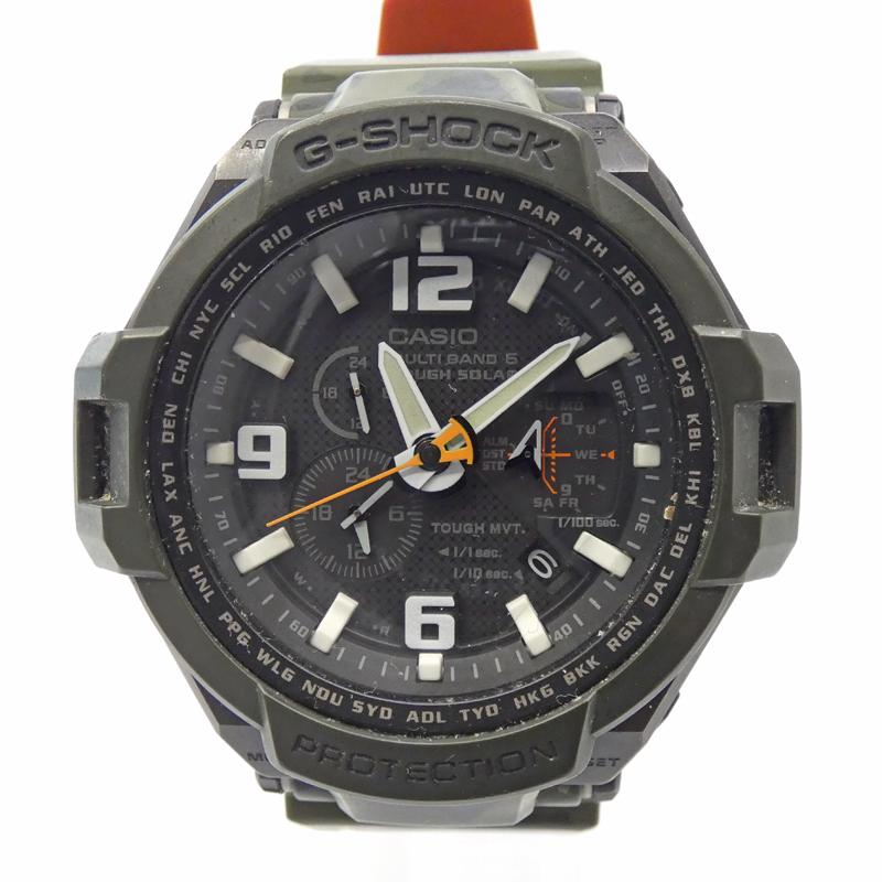 格安 202103pd 中古 G-SHOCK ジーショック GW4000SC メーカー公式ショップ 時計 アナログ 文字盤 ベルト カラー:ブラック 樹脂バンド グリーン系 電波ソーラー f131