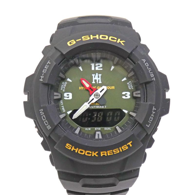 新しい季節 G-SHOCK ジーショック G-100 HYSTERIC GLAMOUR 時計 アナデジ クォーツ 樹脂バンド カラー:カーキグリーン【f131】, 宅配便配送 6d9b3479