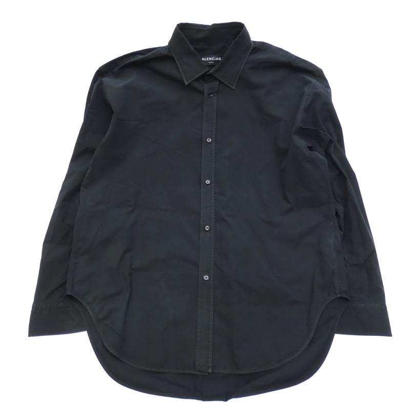 【中古】BALENCIAGA/バレンシアガ 491767 L/Sシャツ サイズ:40 カラー:ブラック【f135】