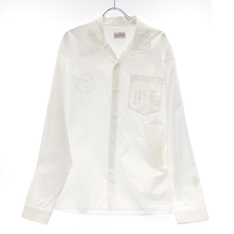 【中古】MONCLER FRAGMENT×FRAGMENT/モンクレールジーニアス×フラグメント 2018S/S 国内正規品 オープンカラーシャツ サイズ:2 カラー:ホワイト【f108】