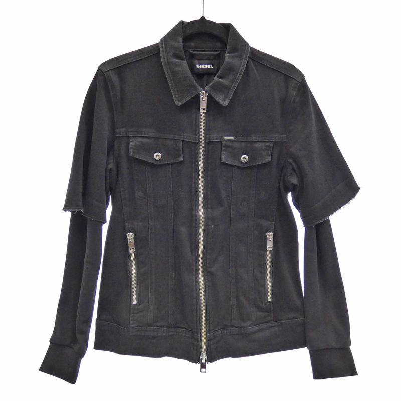 【中古】DIESEL/ディーゼル レイヤード デニムジャケット サイズ:M カラー:ブラック / インポート【f094】
