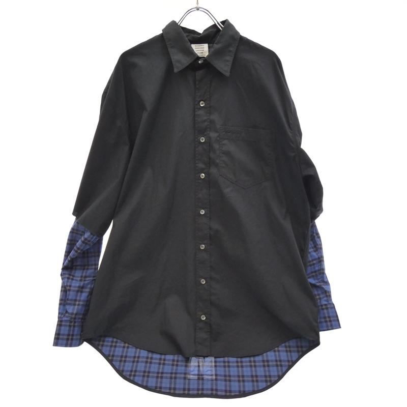 【期間限定】ポイント20倍【中古】VETEMENTS/ヴェトモン 2019S/S MSS196058 Fusion shirts ヒュージョンレイヤードチェック サザビーリーグ国内正規 長袖シャツ サイズ:XS カラー:ブラック【f108】