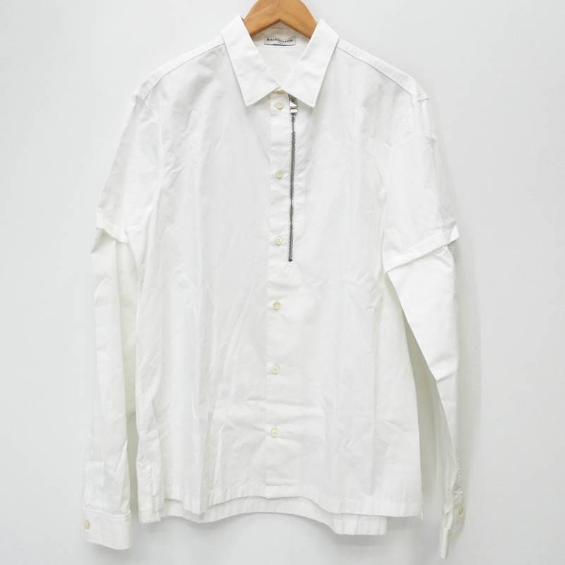 【中古】BALENCIAGA/バレンシアガ L/Sシャツ/アームディタッチャブル/410492/袖取り外し可/全体的黄ばみ サイズ:40 カラー:ホワイト【f135】