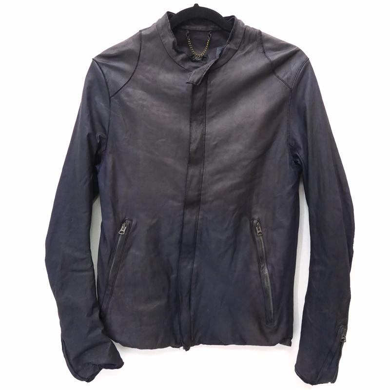 【中古】SISII/シシ シングルレザーライダースジャケット サイズ:M カラー:ネイビー / アメカジ【f096】