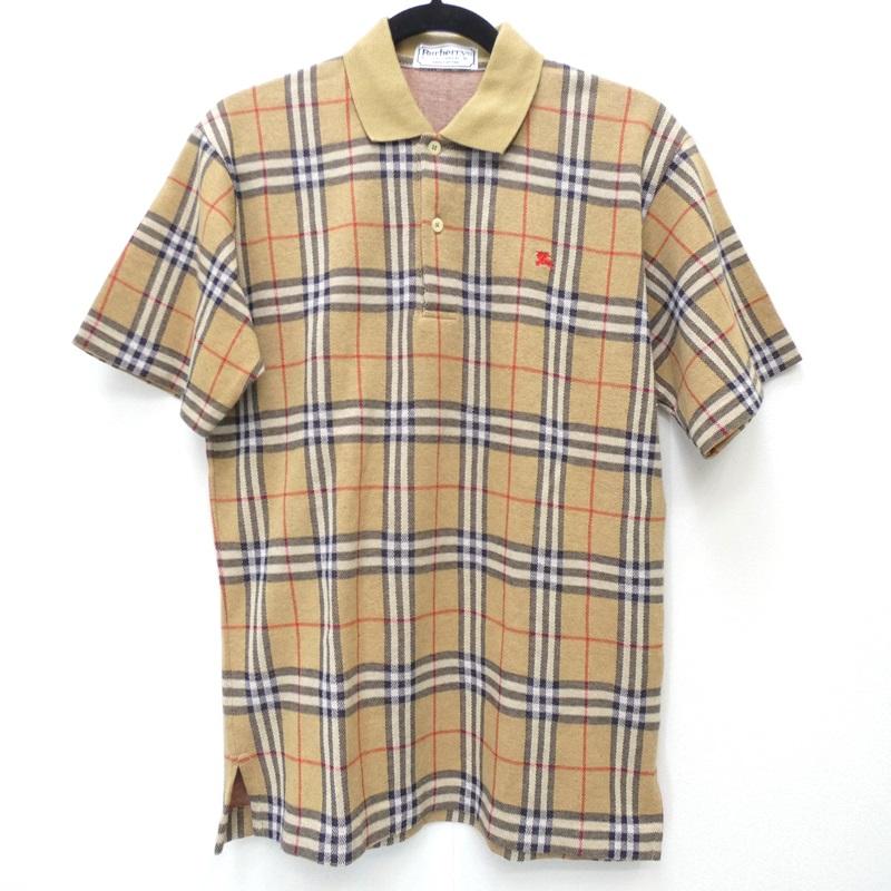 【期間限定】ポイント20倍【中古】Burberry's/バーバリーズ 90s ノバチェック 半袖ポロシャツ サイズ:S カラー:ベージュ系 / インポート【f102】