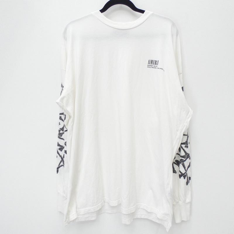 【中古】AMIRI/アミリ 82-231-13-000273 18AW 国内正規品 BONES LONG SLEEVE TEE 長袖シャツ サイズ:XS カラー:ホワイト【f108】