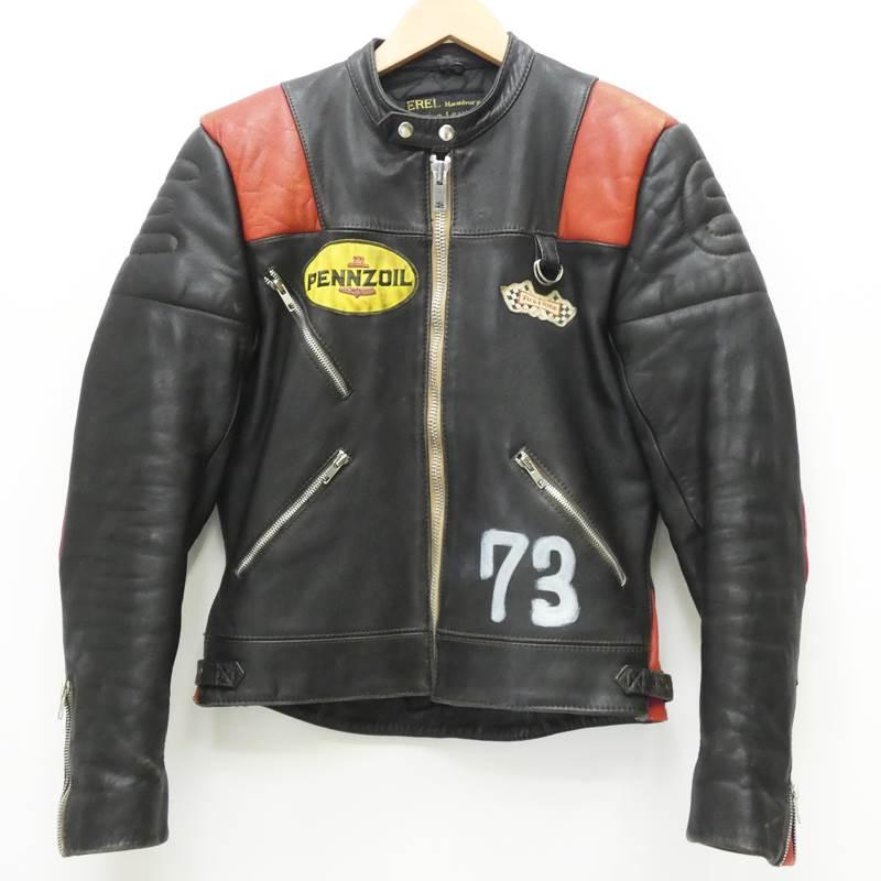 【期間限定】ポイント20倍【中古】VINTAGE衣料 レザージャケット/70'sレーシングライダース/EREL サイズ:46 カラー:ブラック / アメカジ【f093】
