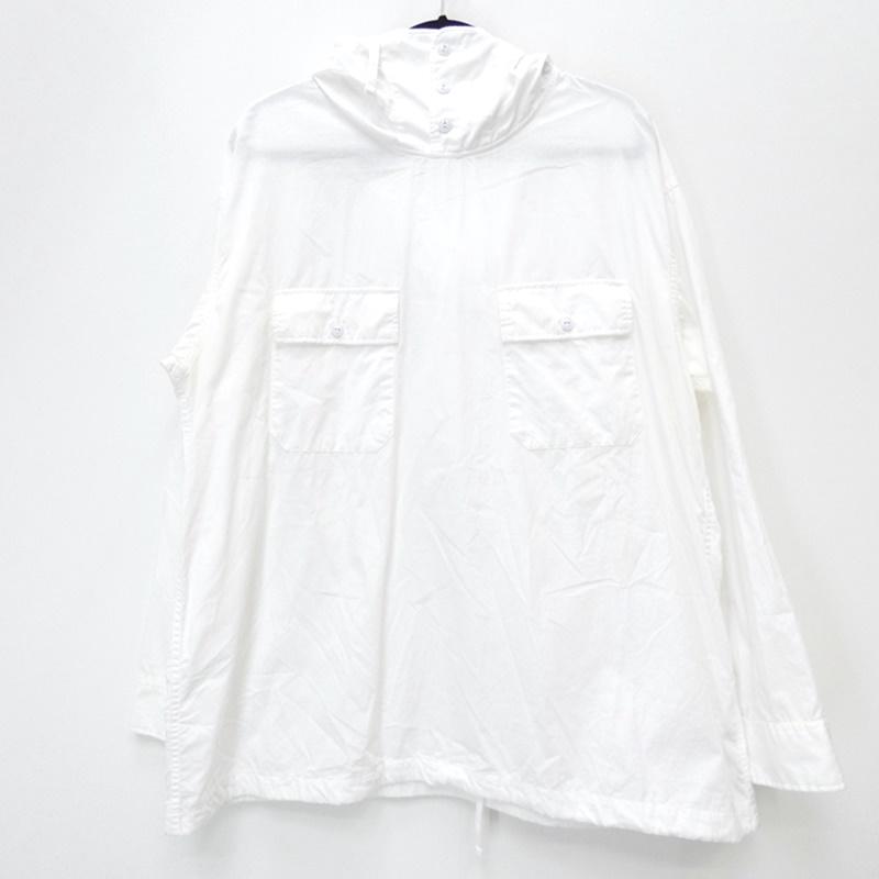 【中古】Engineered Garments/エンジニアードガーメンツ 17AW CAGOUL SHIRT Superfine Poplin 長袖シャツ サイズ:L カラー:ホワイト / セレクト【f099】