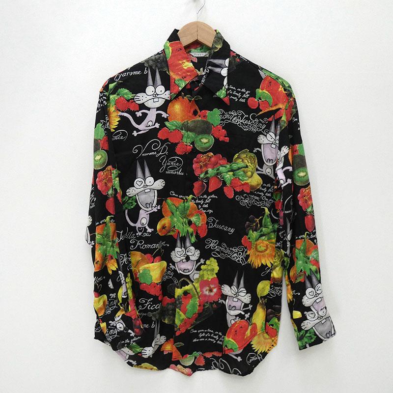 【中古】ficce YOSHIYUKI KONISHI フィッチェ 80s ニャロメシャツ長袖 サイズ:M カラー:総柄 / アメカジ【f101】
