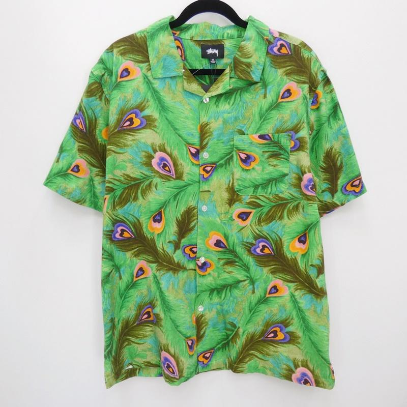 【中古】STUSSY ステューシー PEACOCK SHIRT オープンカラーシャツ サイズ:XL カラー:グリーン / ストリート【f103】