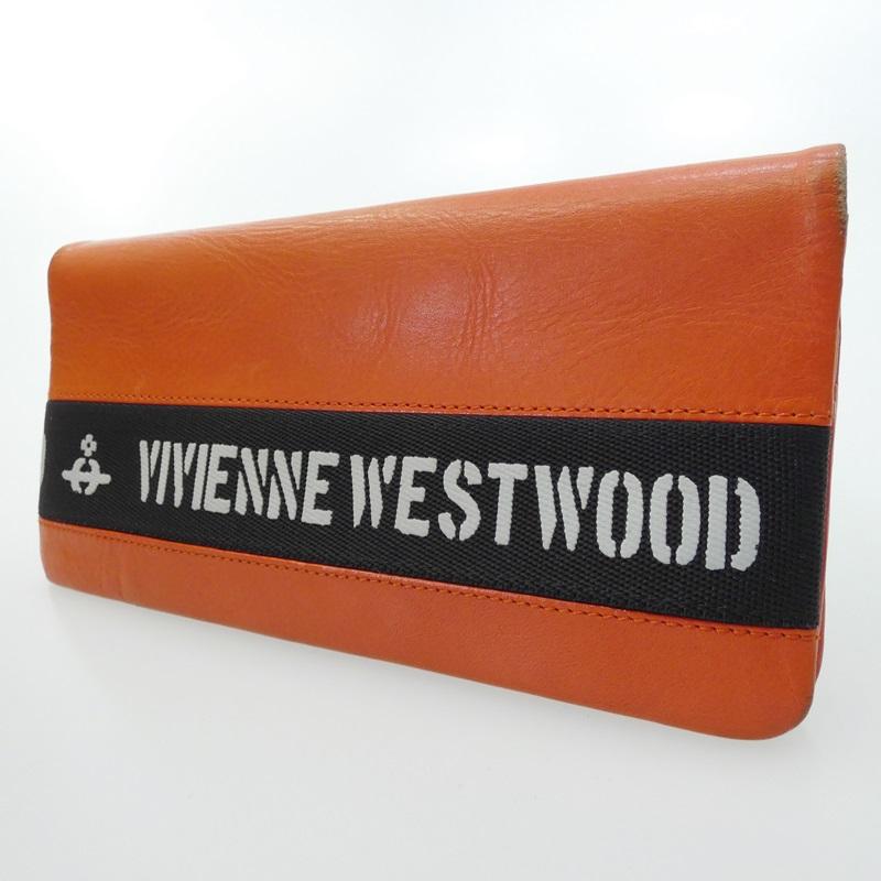 中古 受賞店 Vivienne Westwood ヴィヴィアンウエストウッド 二つ折り長財布 f124 サイズ:- カラー:オレンジ 激安通販専門店
