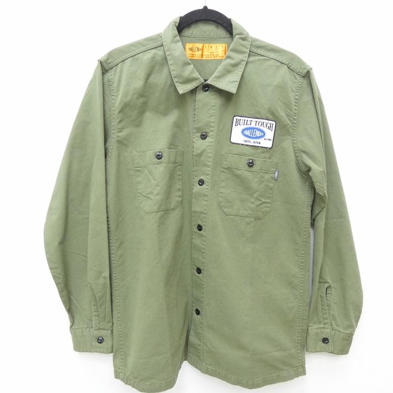 【中古】CHALLENGER チャレンジャー CLG-SH 019-003 L/S PATCH WORK SHIRT ワークシャツ サイズ:L カラー:カーキグリーン / ストリート【f103】
