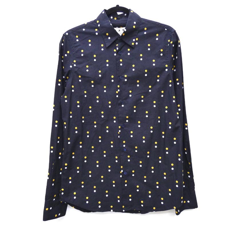 【中古】MARNI マルニ 品番:M05DL0038 ドットシャツ:国内正規品 シャツ長袖 サイズ:44 カラー:ネイビー【f108】