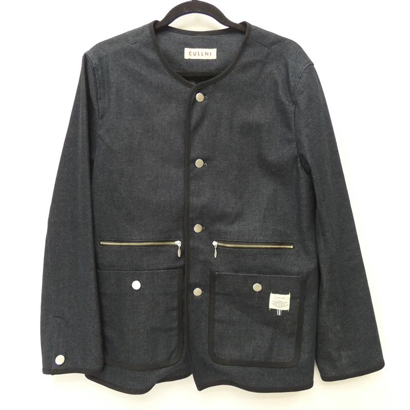 【中古】CULLNI クルニ 16SS 'ノーカラーデニムジャケット'  [16-SS-019] デニムジャケット サイズ:2 カラー:インディゴ【f096】