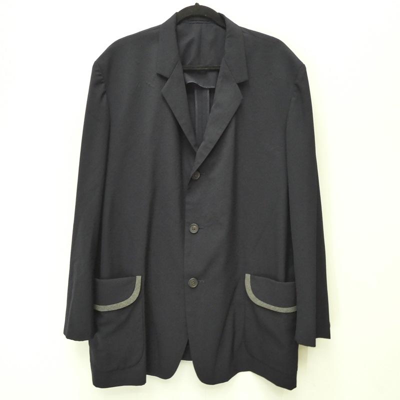 【中古】Y's ワイズ MZ-J15-113 '3B JACKET' パイピングポケットテーラードジャケット サイズ:M カラー:ネイビー【f108】