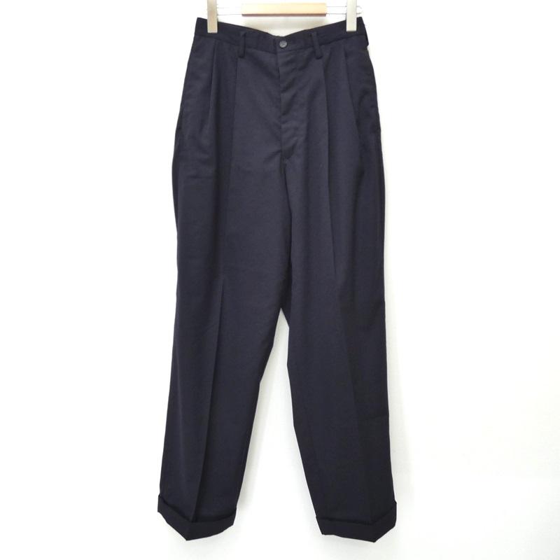 【中古】Y's ワイズ [MZ-P01-113] '2 TUCK SLACKS' タックパンツ サイズ:M カラー:ネイビー【f108】
