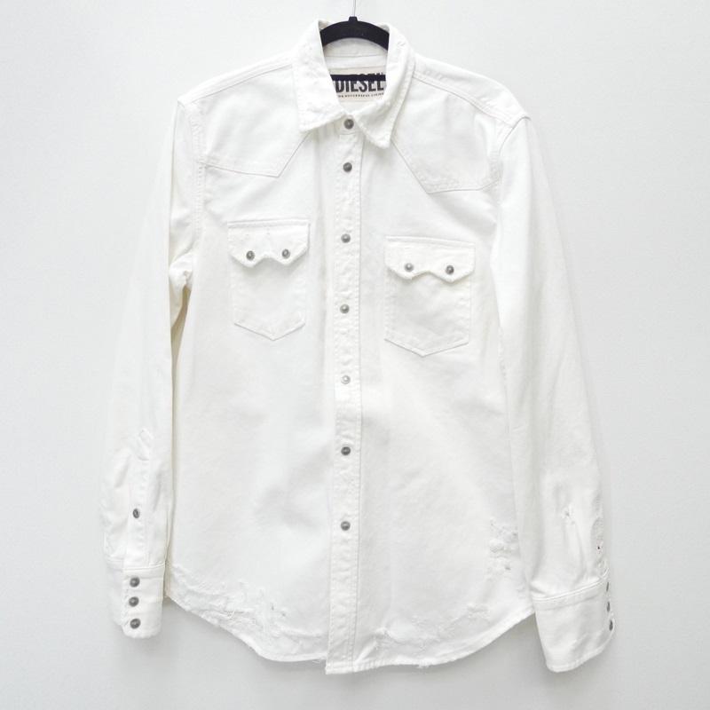 【中古】DIESEL ディーゼル 19SS [00SLK0 089AT] 'D-ROOKE-L' シャツ長袖 サイズ:M カラー:ホワイト / インポート【f102】