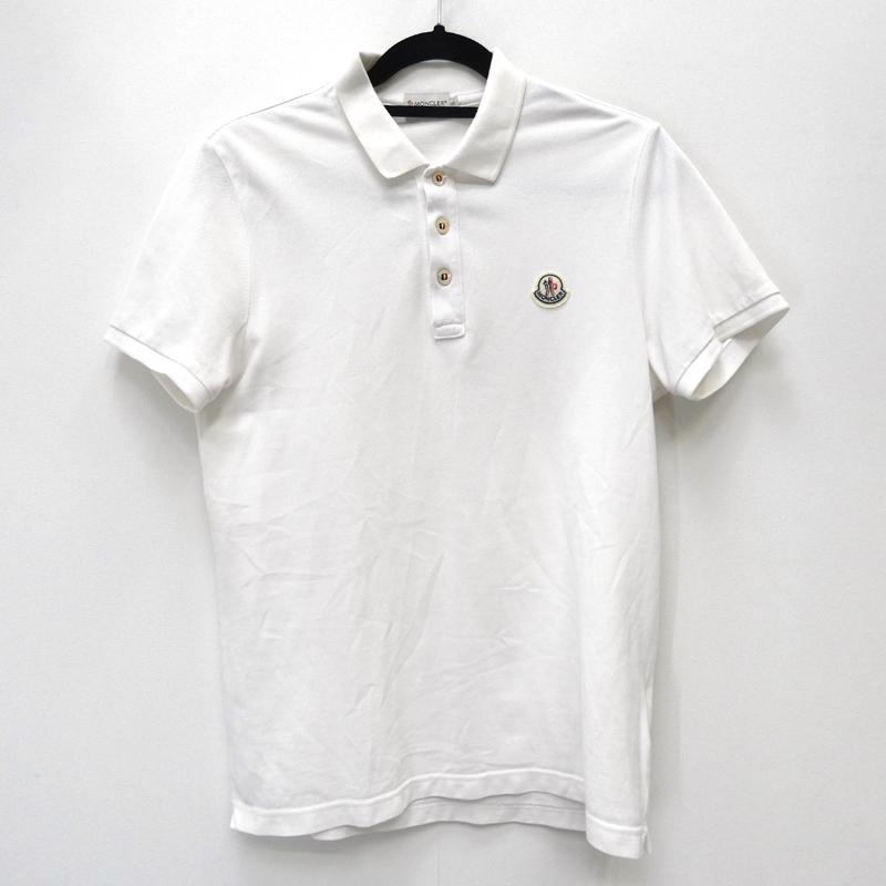 【中古】MONCLER モンクレール 210918340800 84093 'MAGLIA POLO MANICA CORTA' ポロシャツ半袖 サイズ:S カラー:ホワイト【f108】