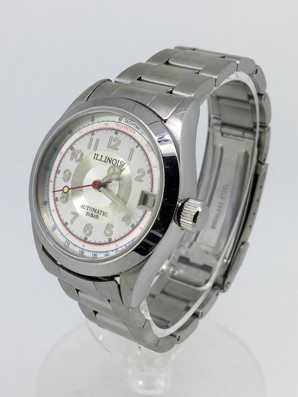 【中古】Illinois/イリノイ腕時計 ホワイト×シルバー自動巻き(オートマチック) ステンレススティールベルト