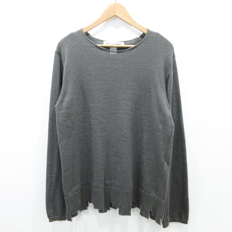 【中古】COMME des GARCONS/コムデギャルソン 裾カッティングデザインニット サイズ:M カラー:グレー / ドメス【f108】