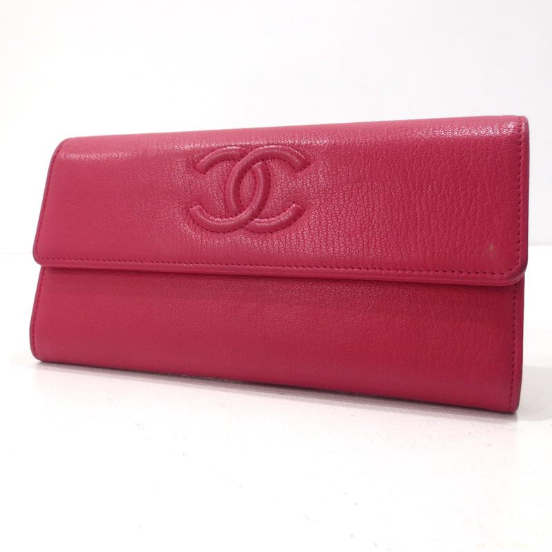 【中古】CHANEL|シャネル フラップ長財布 サイズ: カラー:ピンク系【f125】