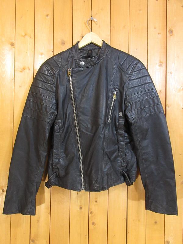 【中古】G-STAR RAW/ジースター ロゥ バイカー レザージャケット サイズ:M カラー:ブラック / インポート