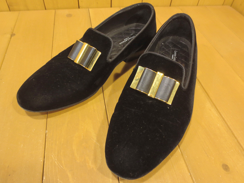 【中古】LOUIS LEEMAN/ルイリーマン メタルリボン ベルベットローファー サイズ:41 カラー:ブラック