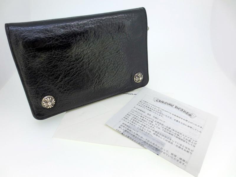 【中古】CHROME HEARTS/クロムハーツ 2ZIP Wallet 2ジップウォレット / クロスボタン 二つ折り 財布 レザー カラー:ブラック