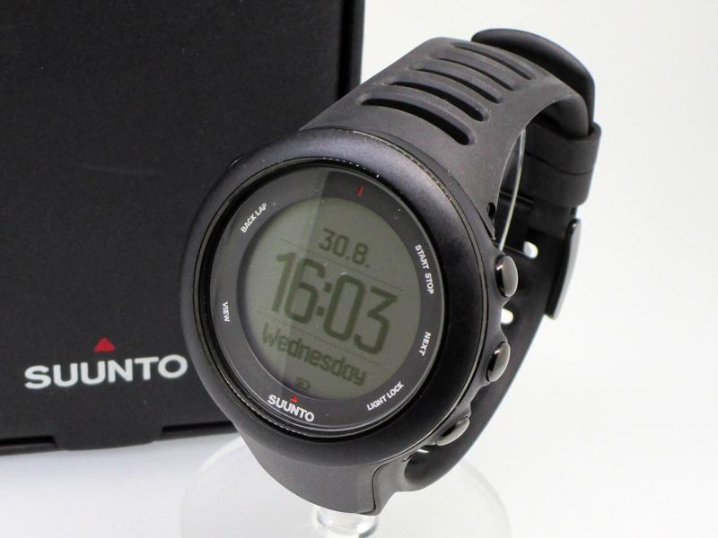【中古】SUUNTO/スント スポーツウォッチ 腕時計 AMBIT3 ブラック×ブラック その他 その他ベルト